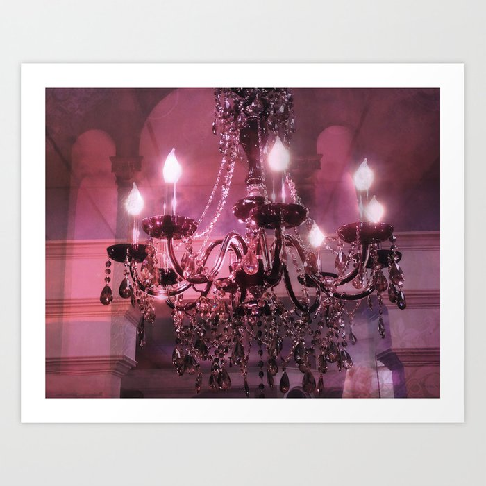 Paris Chandelier Sparkling Crystal Pink, Pink Chandelier Wall Art