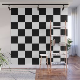 Contemporary Black & White Gingham Pattern Wall Mural