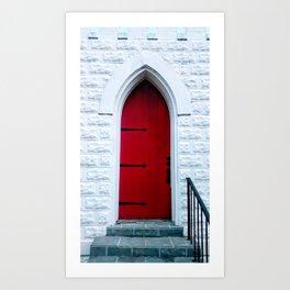 Red Church Door with Iron Blacksmith Hinges Art Print