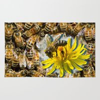bees Area & Throw Rugs featuring Bees by Moody Muse