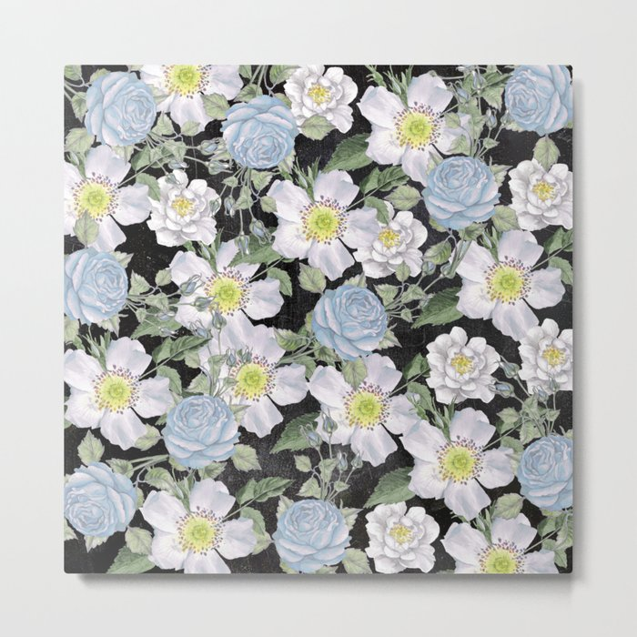 Vintage Rose Pattern Blue On Chalkboard Metal Print