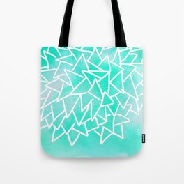 Blue turquoise watercolor geometric triangles Tote Bag
