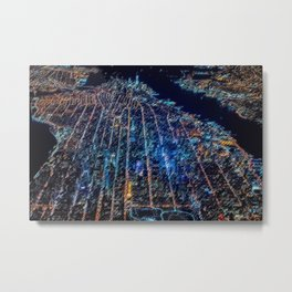 Manhattan Nighttime Skyline Cityscape Landscape Painting by Jeanpaul Ferro Metal Print