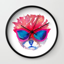 Trimmed Pomeranian in glasses Wall Clock