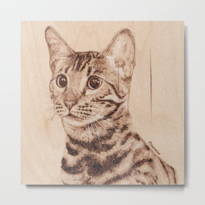 Bengal Cat Portrait - Drawing by Burning on Wood - Pyrography art Metal Print