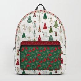 Scandinavian Christmas Trees Pattern - Red Green Backpack
