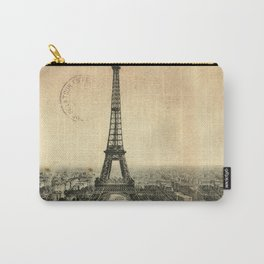 Rare vintage postcard with Eiffel Tower in Paris Carry-All Pouch