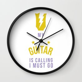 My Guitar Is Calling I Must Go Accoustic Guitar Music Teacher Electronical Bass Wall Clock