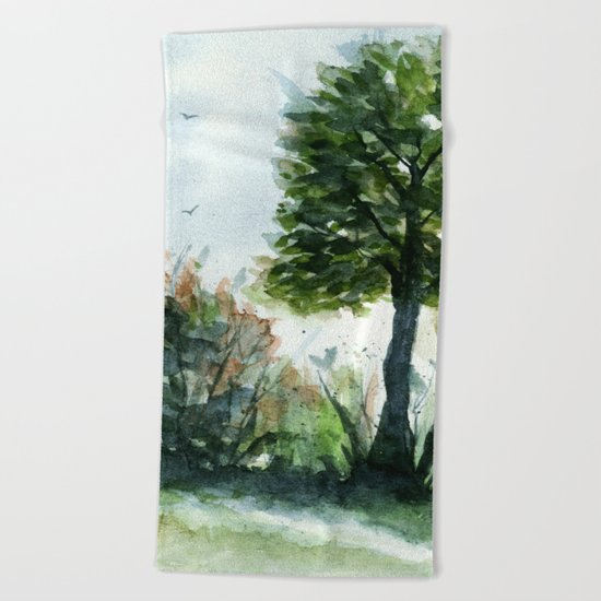 A Lovely Day, Abstract Landscape Art Beach Towel