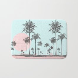 Beachfront palm tree soft pastel sunset graphic Bath Mat