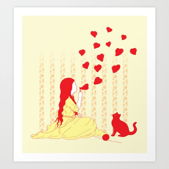 Bubbly Hearts Art Print