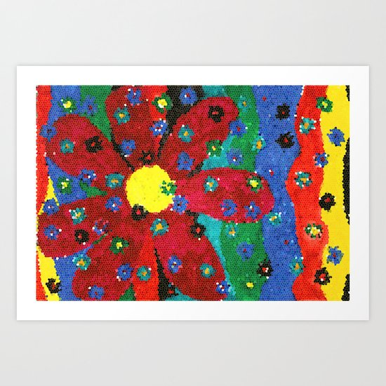 Mosaic flower Art Print