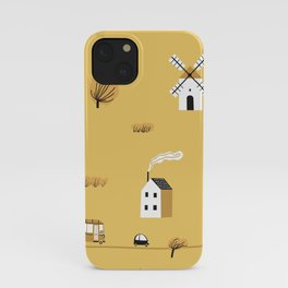 Seamless colorful pattern with house, trees, horses, mills and road. Europe nature landscape concept. Seamless autumn landscape.  iPhone Case