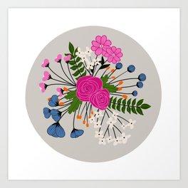 Modern Floral Bundle - gray Art Print