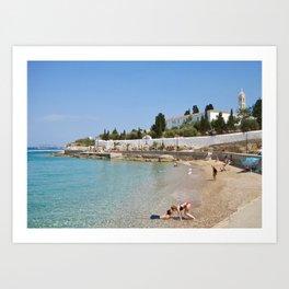 Romance on a Greek island beach Art Print