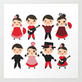 Spanish flamenco dancer. Kawaii cute face with pink cheeks and winking eyes. Gipsy Art Print