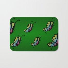 Mosaic Butterfly on Emerald Green Bath Mat