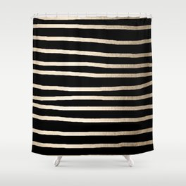 Simply Drawn Stripes White Gold Sands on Midnight Black Shower Curtain