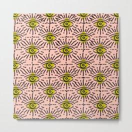 Dainty Seeing Eye Pattern in Chartreuse Metal Print