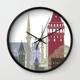 Istanbul skyline poster Wall Clock