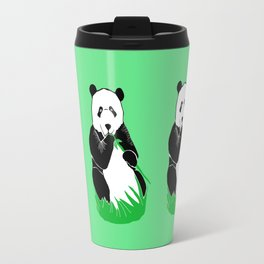 Panda Eating Bamboo Printmaking Art Travel Mug