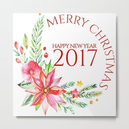Merry Christmas 2017 Colorful Flowers Christmas Bouquet Metal Print