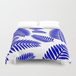 Blue Leaves Ferns Pattern Duvet Cover