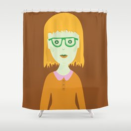 The Girl with the Baby Bangs Shower Curtain