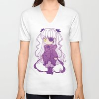 chibi V-neck T-shirts featuring Chibi Barasuishou by Yue Graphic Design