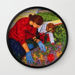 Tending the Garden Wall Clock