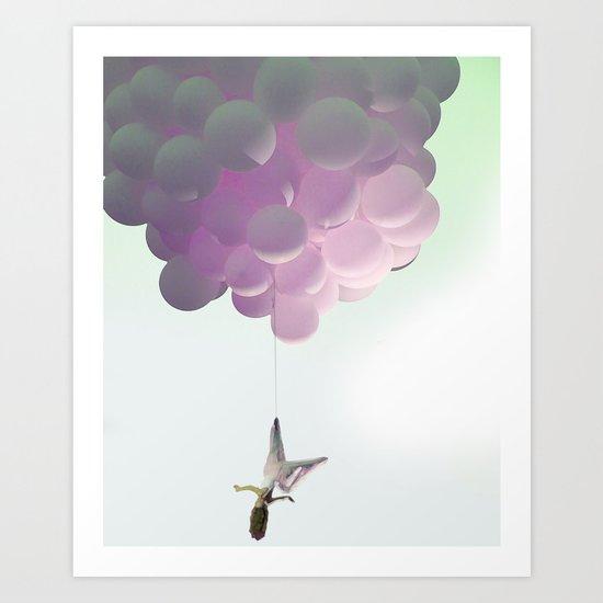 by a thread_ ballon girl Art Print