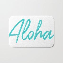 Aloha in Tropical Blue Bath Mat