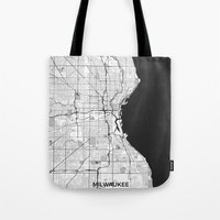 milwaukee Tote Bags featuring Milwaukee Map Gray by City Art Posters