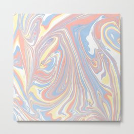 Abstract modern coral white yellow blue watercolor marble Metal Print