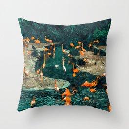 Flamingo Creek #flamingo #tropical #illustration Throw Pillow