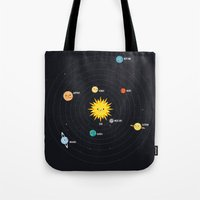 solar system Tote Bags featuring Solar System by Sara Showalter