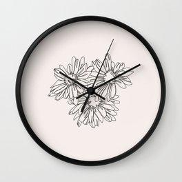 Daisy flowers line drawing - Nina I Wall Clock