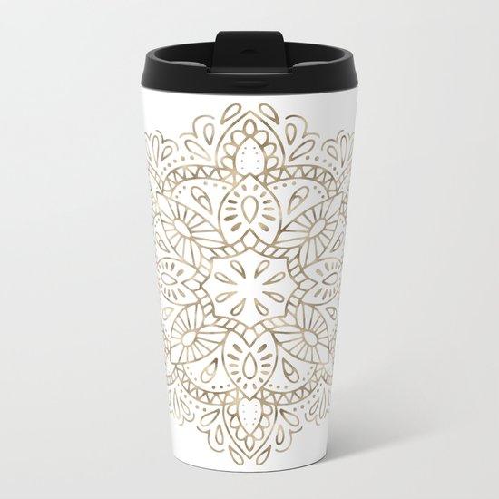 Mandala Gold Metal Travel Mug