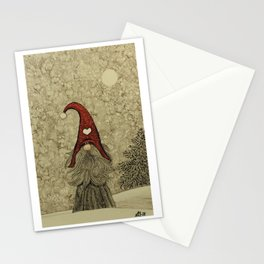 """Old """"Tomten Elmer"""" is longing for Christmas time. Stationery Cards"""