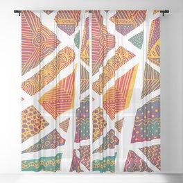 Geometric doodle pattern - multicolor Sheer Curtain