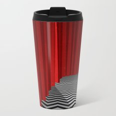 Twin Peaks Black Lodge with Chevron Floor and Red Curtains  Metal Travel Mug