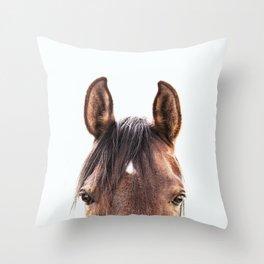 peekaboo horse, bw horse print, horse photo, equestrian, equestrian photo, equestrian decor Throw Pillow
