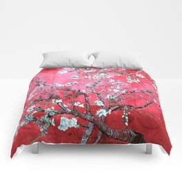 Van Gogh Almond Blossoms : Reddish Pink & Light Blue Comforters
