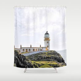 Lighthouse at Neast Point, Isle of Skye, Scotland Shower Curtain