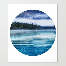 Blue Tranquil Lake Scenery Circle Canvas Print