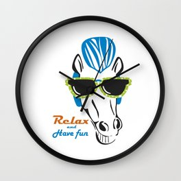 Funny Horse with Sunshades Wall Clock