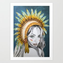 Red Indian Beauty Art Print