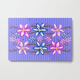 Violet Stripes with Flowers Metal Print