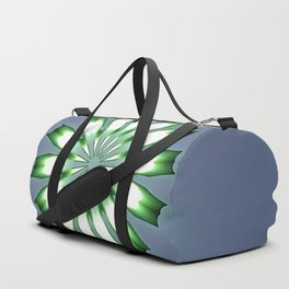 Floral Button on Blue Gray Mandala Abstract Duffle Bag