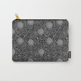 BOJANGLES, VINTAGE RETRO DOTS: WHITE on BLACK Carry-All Pouch